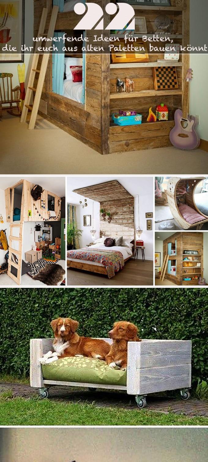 22 umwerfende ideen f r betten die ihr euch aus alten paletten bauen k nnt. Black Bedroom Furniture Sets. Home Design Ideas